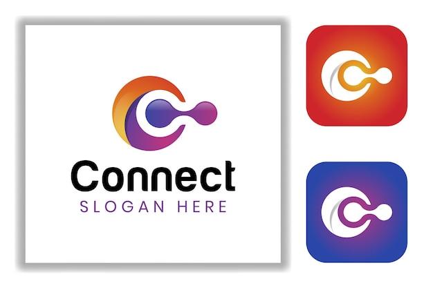 Lettre abstraite c avec symbole de connexion pour le modèle de logo technologique