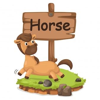 Lettre alphabet animal h pour cheval
