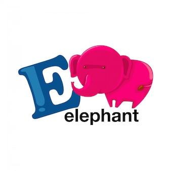 Lettre de l'alphabet des animaux - e