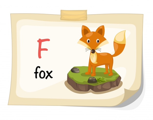 Lettre de l'alphabet des animaux f pour vector illustration renard