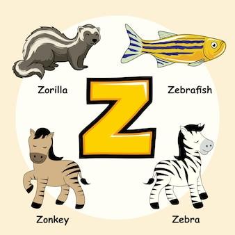 Lettre alphabet animaux mignons z