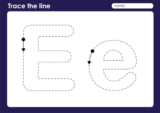 Lettre de l'alphabet e sur la feuille de calcul préscolaire de lignes de traçage