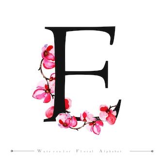 Lettre de l'alphabet e fond de l'aquarelle floral