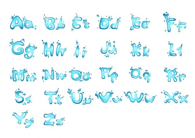Lettre alphabet de l'eau a - z