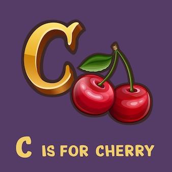 Lettre alphabet enfants c et cerise