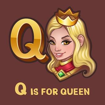 Lettre alphabet enfants q et reine