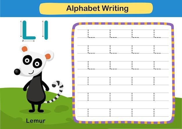 Lettre de l'alphabet exercice l lemur avec illustration de vocabulaire de dessin animé