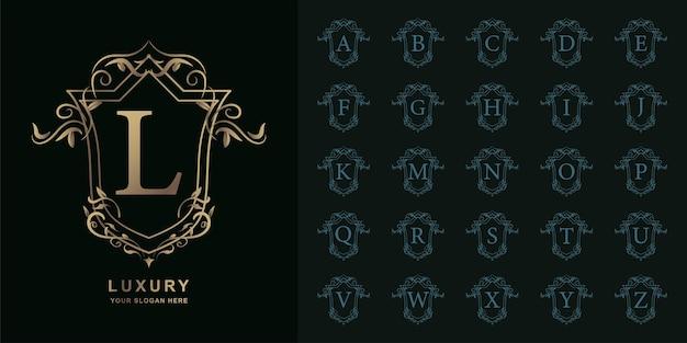 Lettre l ou alphabet initial de collection avec modèle de logo doré cadre floral ornement de luxe.