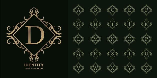 Lettre d ou alphabet initial de collection avec modèle de logo doré de luxe ornement cadre floral.