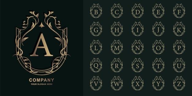 Lettre a ou alphabet initial de collection avec modèle de logo d'or de cadre floral d'ornement de luxe.