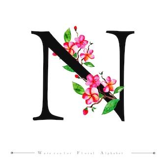 Lettre de l'alphabet n fond de l'aquarelle florale