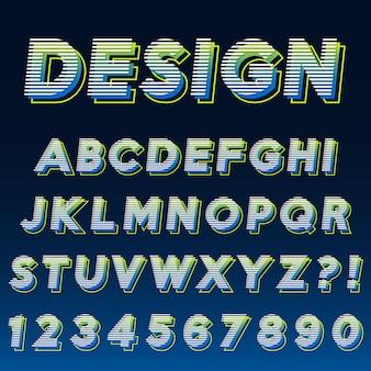 Lettre alphabet avec numéros effet moderne design