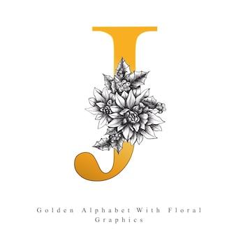 Lettre d'alphabet d'or j