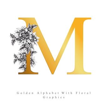 Lettre d'alphabet d'or m