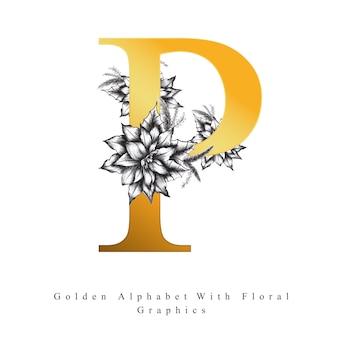 Lettre d'alphabet d'or p