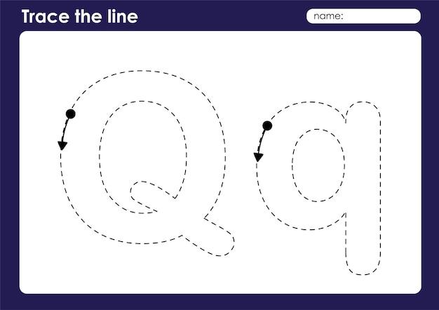 Lettre de l'alphabet q sur la feuille de calcul préscolaire de lignes de traçage