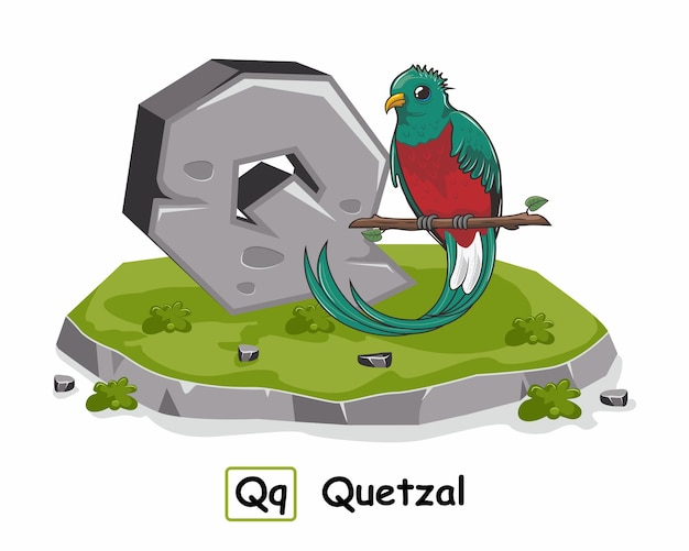 Lettre de l'alphabet quetzal bird rock stone q