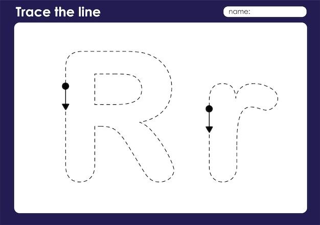 Lettre de l'alphabet r sur la feuille de calcul préscolaire de lignes de traçage