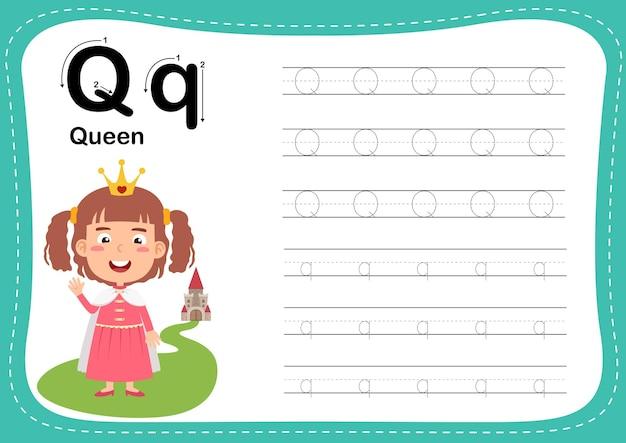 Lettre de l'alphabet reine avec vocabulaire fille