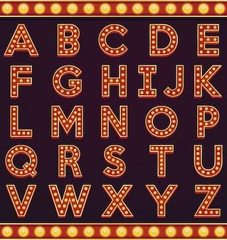 Lettre alphabet signe marquee ampoule style