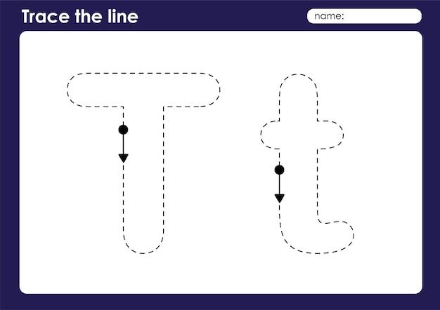 Lettre de l'alphabet t sur la feuille de calcul préscolaire de lignes de traçage