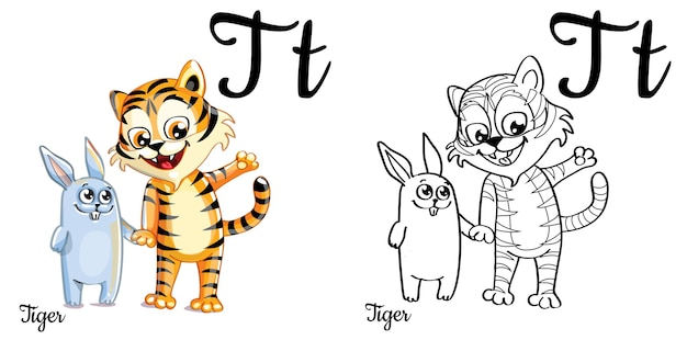 Lettre de l'alphabet t pour l'éducation des enfants avec tigre et lapin de dessin animé drôle. isolé. apprendre à lire. coloriage.