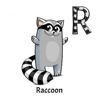 Lettre alphabet de vecteur r. raton laveur