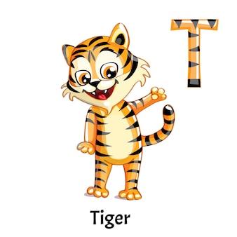 Lettre alphabet de vecteur t. tiger
