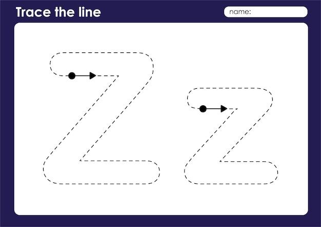 Lettre de l'alphabet z sur la feuille de calcul préscolaire de lignes de traçage