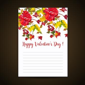 Lettre d'amour aquarelle saint-valentin
