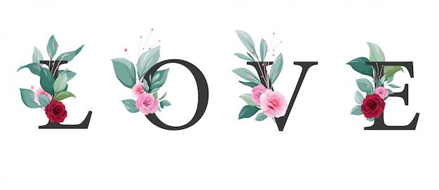 Lettre d'amour avec floral. décoration de fleurs élégantes de roses et de feuilles pour carte d'invitation de mariage, valentine, événement, affiche ou couverture