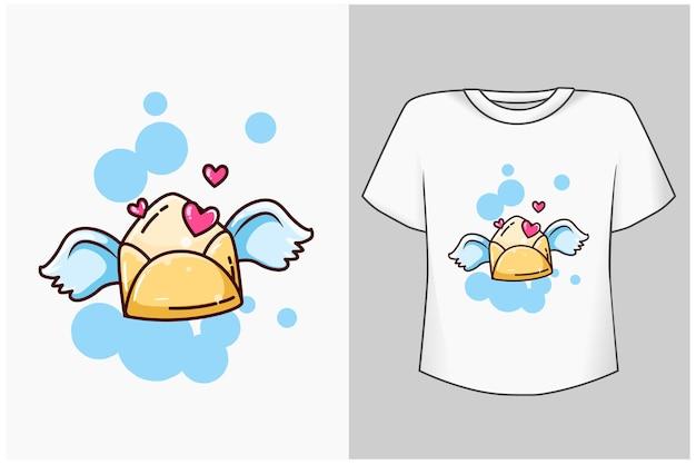 Lettre d'amour avec illustration de dessin animé ailes