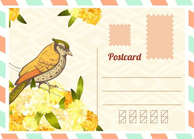 Lettre d'amour avec oiseau.