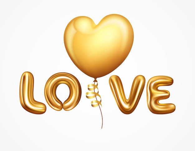 Lettre d'amour réaliste de ballons d'hélium