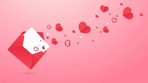 Une lettre d'amour s'est ouverte et un cœur rouge s'est envolé de la lettre.