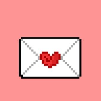 Lettre d'amour avec style pixel art