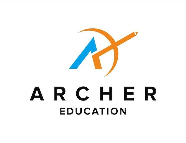 Lettre a avec arc et crayon pour l'éducation simple création de logo géométrique élégant et moderne
