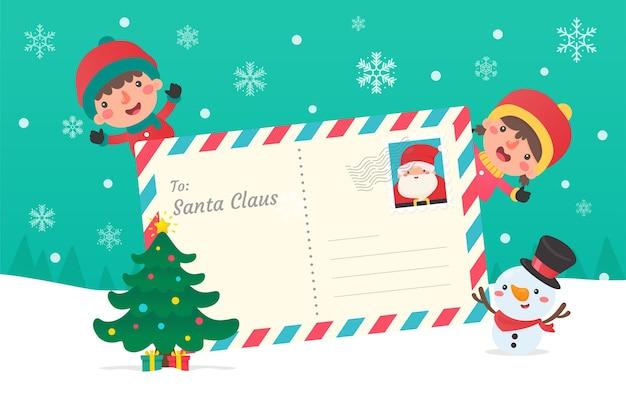 Lettre au père noël. les enfants qui écrivent des lettres au père noël à noël hiver enneigé.