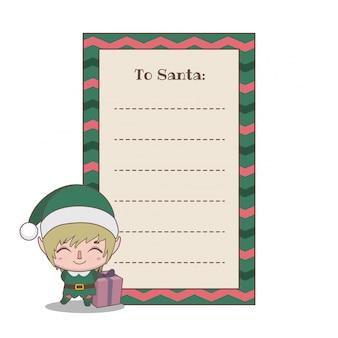 Lettre au père noël avec un mignon petit assistant elfe