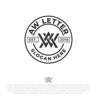 Lettre aw badge logo modèle vecteur