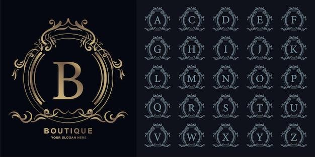 Lettre b ou alphabet initial de collection avec le modèle de logo doré de cadre floral d'ornement de luxe.