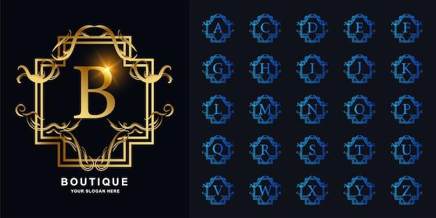 Lettre b ou alphabet initial de collection avec modèle de logo doré cadre floral ornement de luxe.