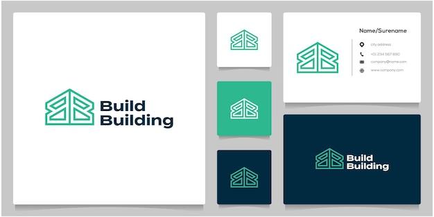 Lettre b ou bb style géométrique home building logo design avec carte de visite