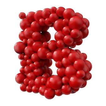 Lettre b avec des boules brillantes de couleur rouge, vue latérale. illustration réaliste.