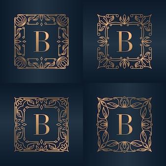 Lettre b avec cadre floral d'ornement de luxe