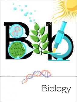La lettre b de la carte flash est pour la biologie