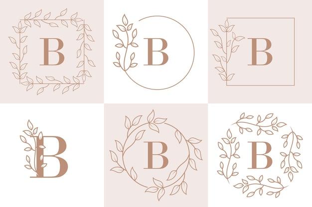 Lettre b initiale avec modèle de cadre floral