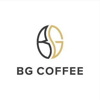 Lettre b et lettre g avec contour de grain de café simple création de logo moderne géométrique élégant