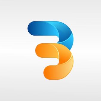 Lettre b logo, 3d, illustration