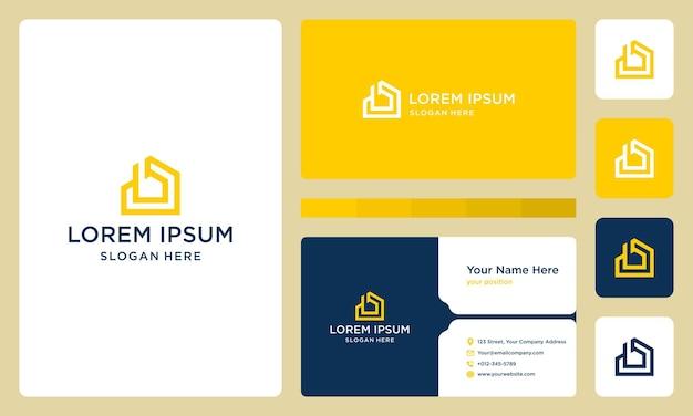 Lettre b et logo de construction de maison. conception de carte de visite.